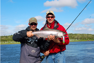 Fishing for salmon on the nushagak river with a guide from alaska king salmon adventure's lodge