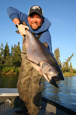a guide for alaska king salmon adventure's fishing lodge holds a king/chinook salmon caught on the nushagak