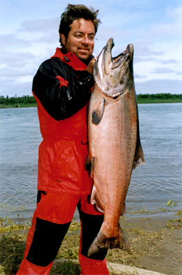 A fisherman with his catch of alaska king/chinook salmon near our lodge on the nushagak river